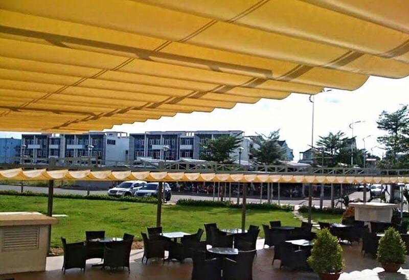 Mái xếp lượn sóng – sự lựa chọn hoàn hảo cho những quán cafe ngoài trời