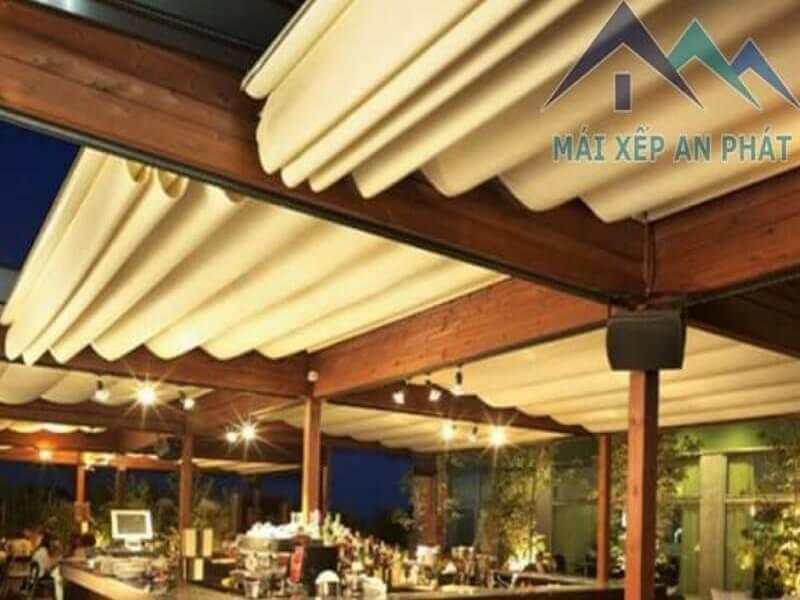 mẫu mái xếp lượn sóng quán cà phê – nhà hàng sân vườn