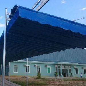 mẫu mái xếp lượn sóng màu xanh lam