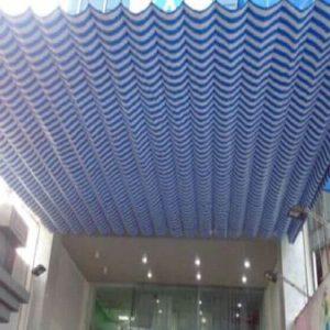 mẫu mái xếp lượn sóng màu xanh trắng