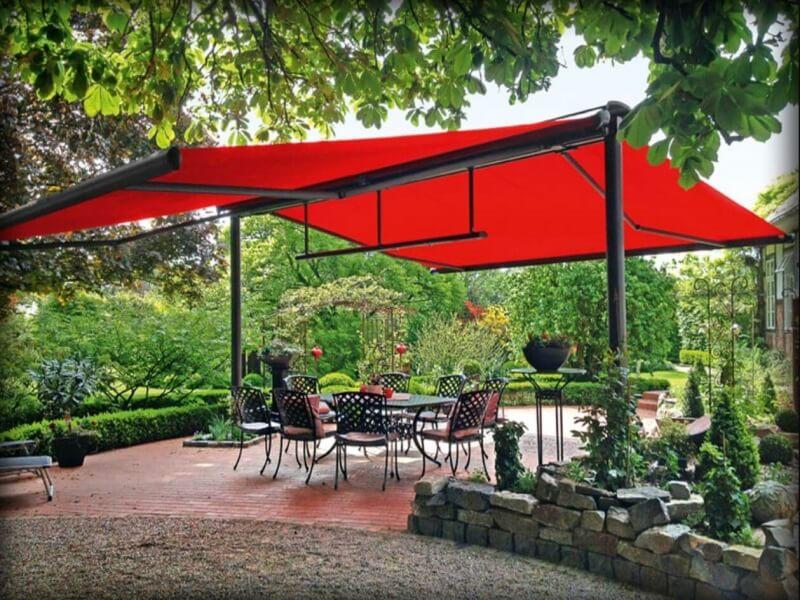 mái xếp di động dành cho quá cà phê sân vườn